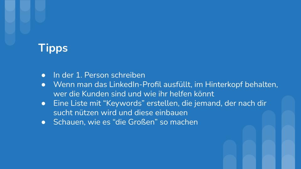 LinkedIn Masterclass Präsentation