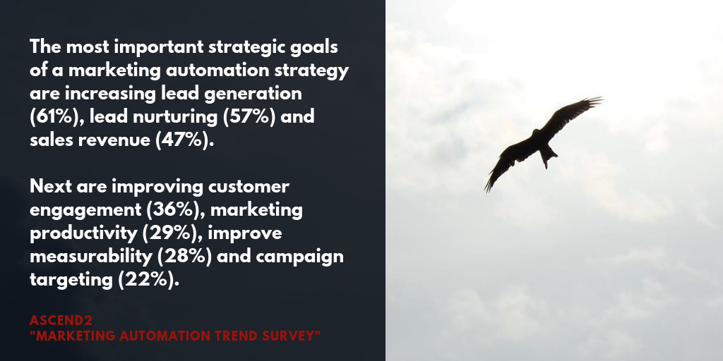 The most important strategic goals  of a marketing automation strategy are increasing lead generation (61%), lead nurturing (57%) and sales revenue (47%).  Next are improving customer engagement (36%), marketing productivity (29%), improve measurability (28%) and campaign targeting (22%).